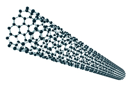 Isolated illustration of a microscopic carbon nanotube Stock Photo