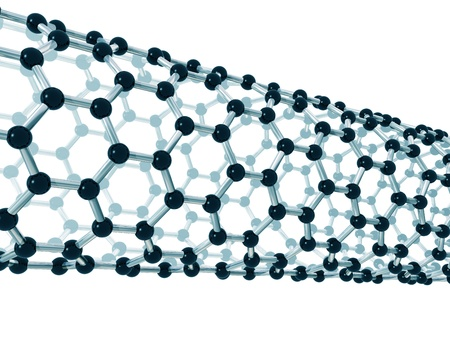 carbon fibre: Illustration of the detailed structure of a carbon nanotube Stock Photo