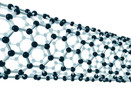 fibra de carbono: Ilustraci�n de la estructura detallada de un nanotubo de carbono