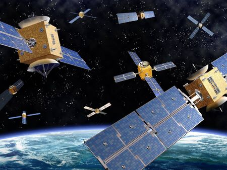 Illustration of competing satellites in orbit around the earth Stock Photo