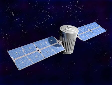 Illustration of a satellite trash can in space illustration