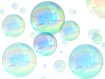 iridescent: Illustration of many multicolored bubbles floating in the air Stock Photo