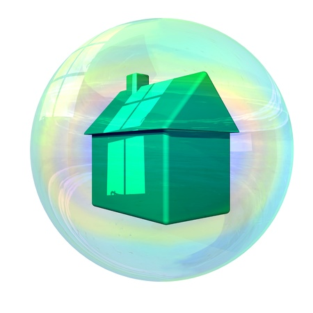 slump: Illustration of stylized house in a bubble Stock Photo