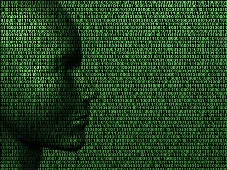 virus informatico: Ilustraci�n de una cara de c�digo binario
