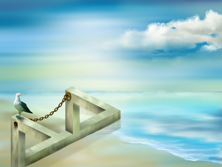 Illustration of an impossible structure on the seashore Stock Photo