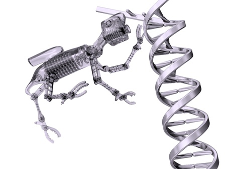 manipulating: Illustration of a nanobot manipulating a strand of DNA