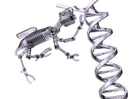 Illustration of a nanobot manipulating a strand of DNA