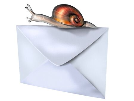 slither: Isolated illustration of a snail perched on top of an envelope Stock Photo