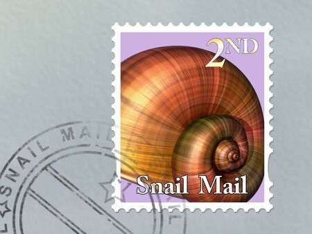 franked: Illustration of a snail mail stamp on an envelope Stock Photo