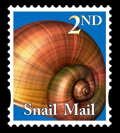 gastropod: Illustration of a snail mail stamp isolated on a black background