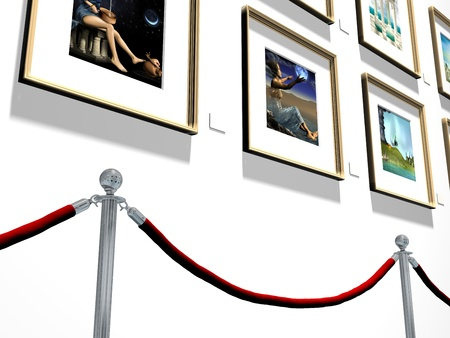 velvet rope barrier: Illustration of pictures hanging on a gallery wall