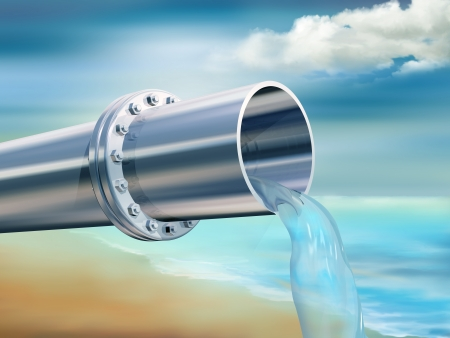 desalination: Illustration of a water pipe providing clean drinking water Stock Photo