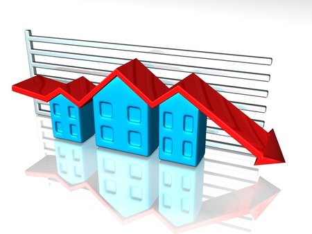 Illustration of a graph depicting house prices Stock Illustration - 9497055