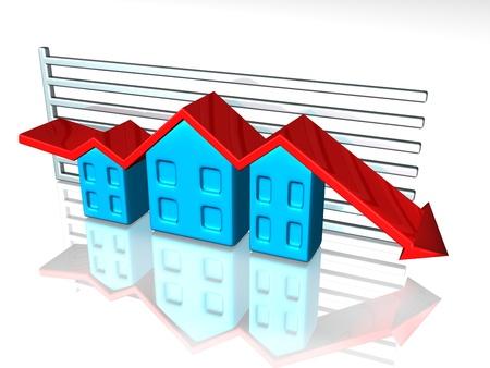 tendencja: Ilustracja wykres przedstawiający cenach domów
