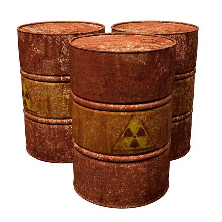 residuos toxicos: Ilustraci�n aislado de tres tambores de residuos peligrosos