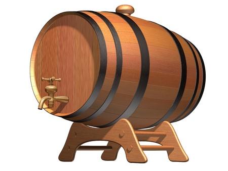 Geïsoleerde illustratie van een houten biervat met een koperen kraan Stockfoto