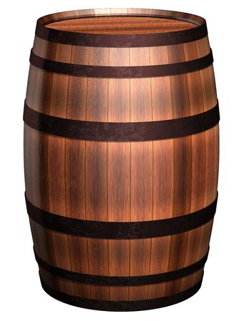 cask: Isolated illustration of an antique wooden barrel