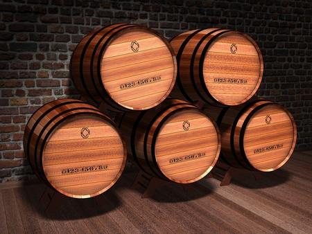 Illustration of wooden barrels in an old cellar