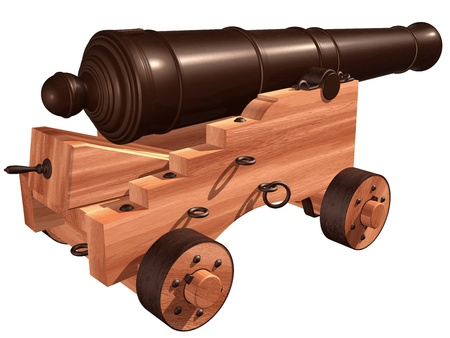 deck cannon: Isolated illustration of an antique ships cannon