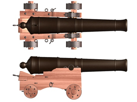 artillery: Isolated illustration of an antique ships cannon