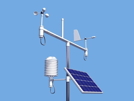 weather report: Illustration of various instruments on a weather station