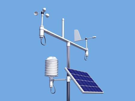 Ilustración de diversos instrumentos en una estación meteorológica