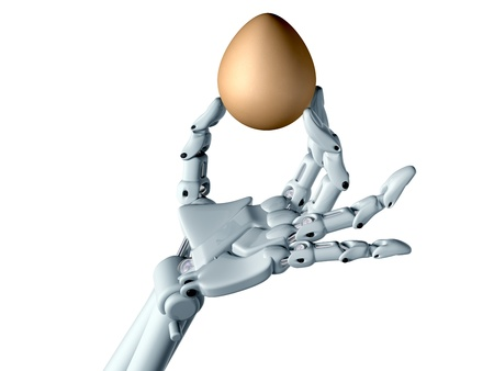 manipulate: Robot hand tentatively holding a fragile egg Stock Photo