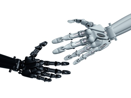 robotic: Humanoid robots reaching out to shake hands Stock Photo
