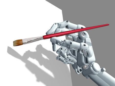 Illustration of a robot holding an artist paintbrush illustration