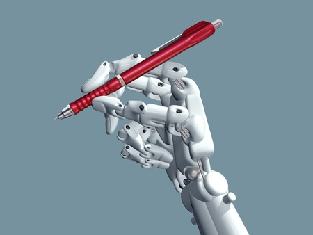 Illustration of a robot holding a pen Stock Illustration - 9739823