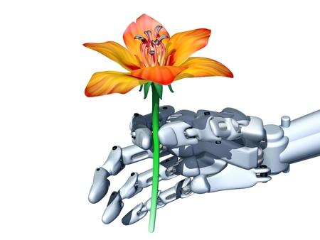 Illustration of a robot gently holding an orange flower illustration