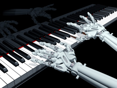 upright piano: Illustration of a robot playing a grand piano
