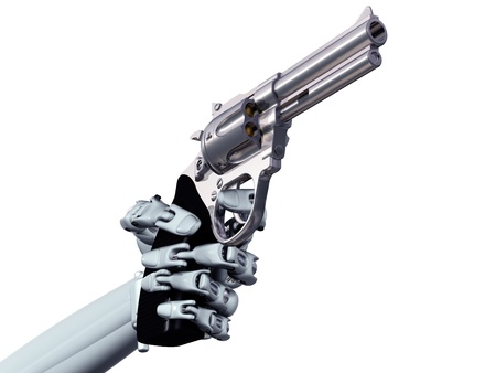 Illustration of a robot pointing a deadly handgun illustration