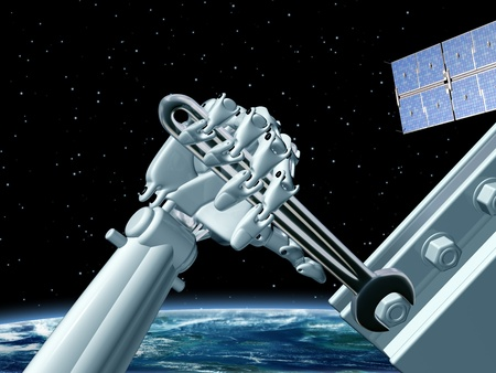artificial satellite: Illustration of a robot doing maintenance work in outer space