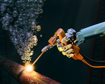 soldadura: Trabajos de reparaci�n de aguas profundas en un tubo de metal corro�do