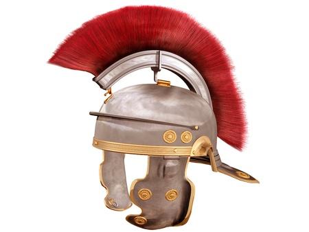 casco rojo: Ilustración aislada de un casco romano con una pluma escarlata