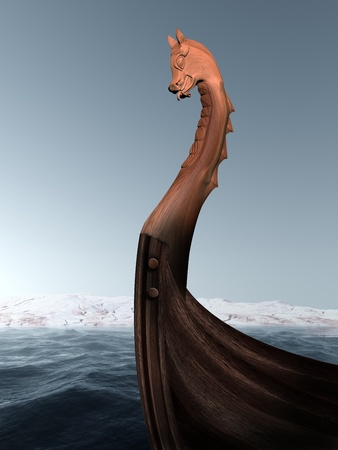 legends folklore: Illustration of an ancient wooden figurehead on a Viking longboat