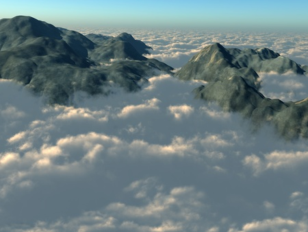 altitude: Illustration of mountain tops piercing through a thick layer of clouds