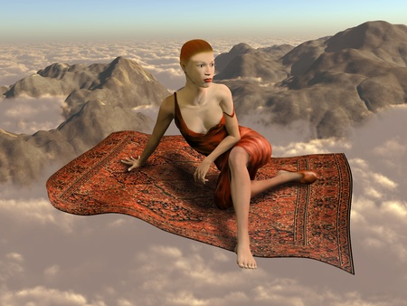 flying float: Illustration of a woman flying a magic carpet through the clouds and over the mountains Stock Photo