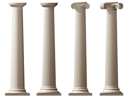 ionic: Isolated illustration of Roman Doric and Ionic columns