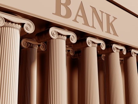 Illustratie van een traditionele bank met klassieke kolommen