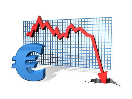deflation: Graph showing the falling value of the Euro Stock Photo