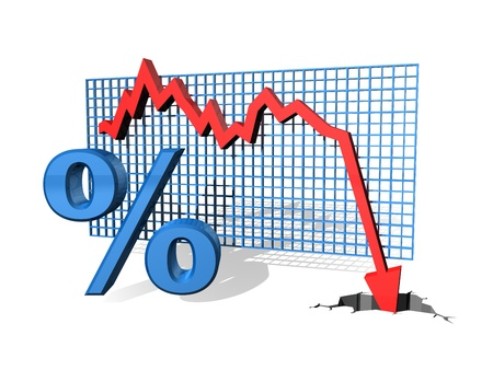 deflation: Illustration of a graph showing decreasing percentage