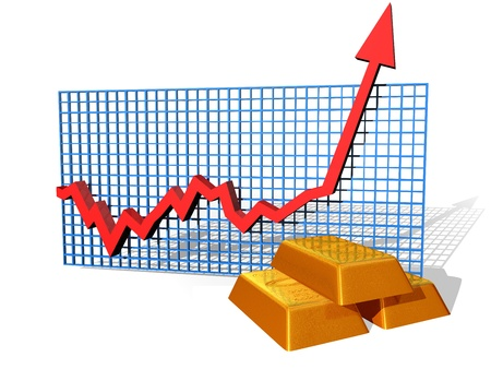 gold standard: Illustration of a gold chart on the up
