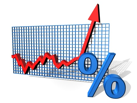 yield: Illustration of a percentage chart on the up