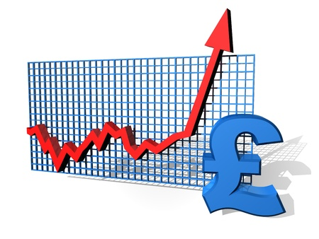 Illustration of a pound chart on the up Stock Illustration - 10286694
