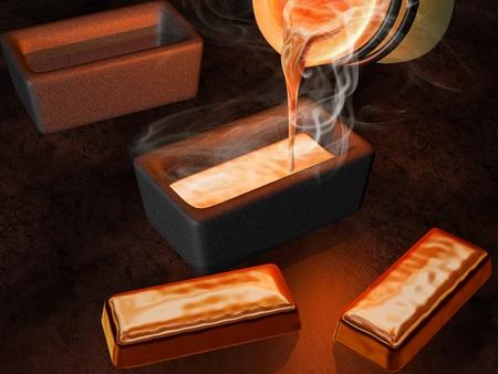 fondu: Illustration d'une coul�e d'or orf�vre en lingoti�res