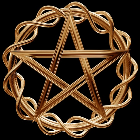 wiccan: Illustration of an ornate gold pentagram on a black background