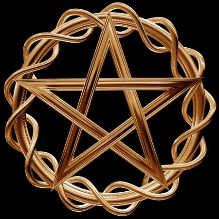 pentacle: Illustrazione di un pentagramma d'oro ornato su sfondo nero Archivio Fotografico