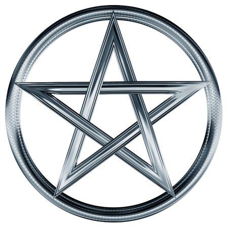 pentacle: Illustrazione isolato di un pentagramma d'argento ornato